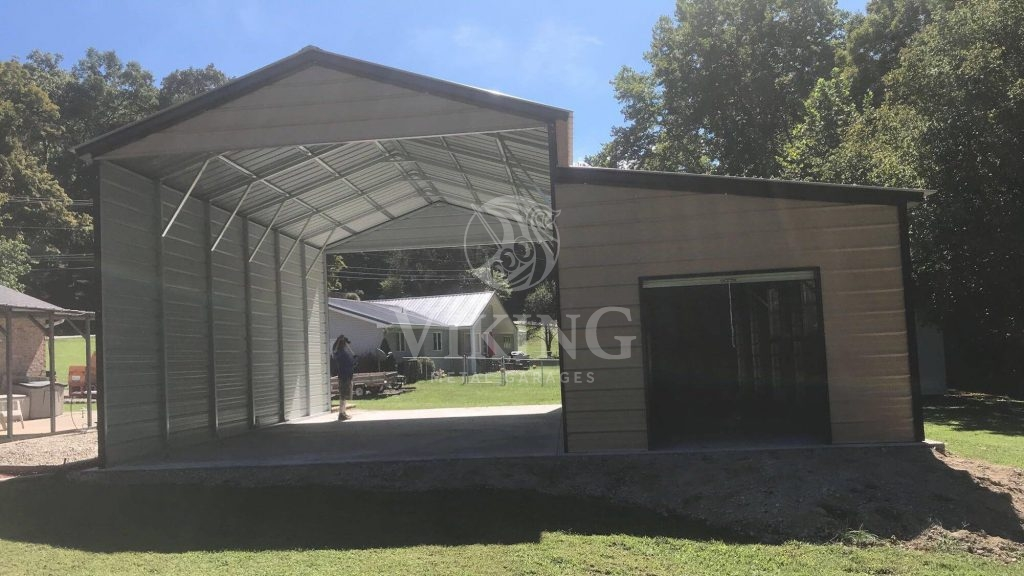 18x30x12 Rv Garage With Enclosed Lean To Viking Metal