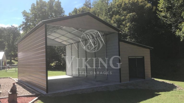 18x30x12 RV Garage With Enclosed Lean To
