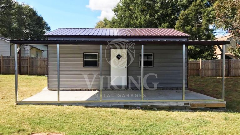 20x26x9 Vertical Roof Garage With Lean To