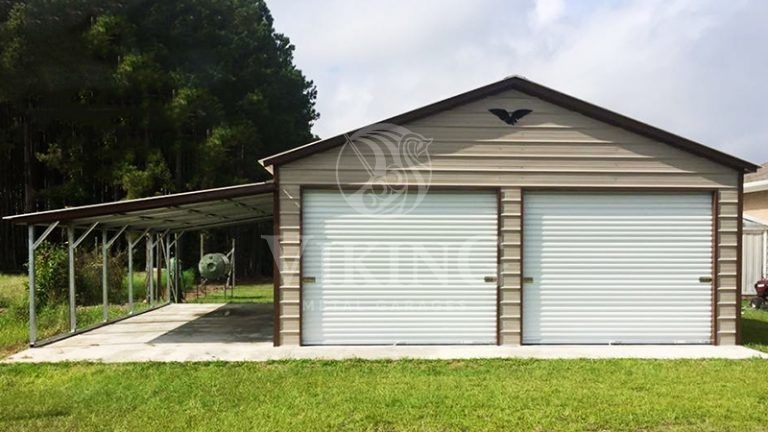 22x26x10 Enclosed Metal Garage With Lean To