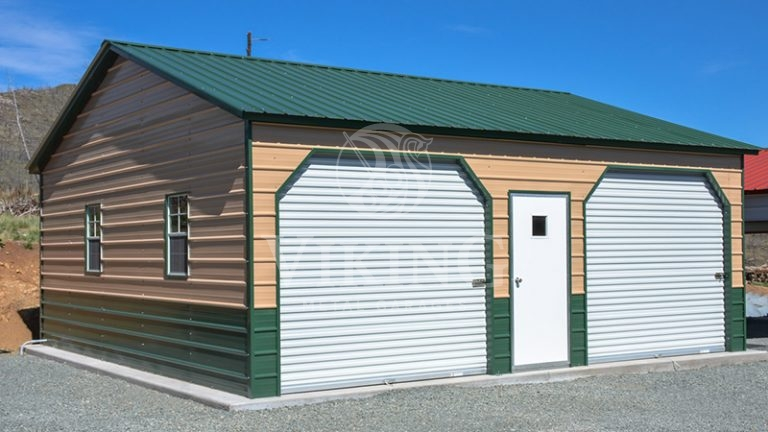 24x26x9 Fully Enclosed Side Entry Metal Garage