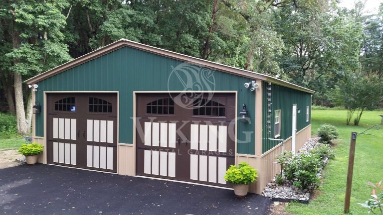 26x40x9 Two Tone All Vertical Metal Garage