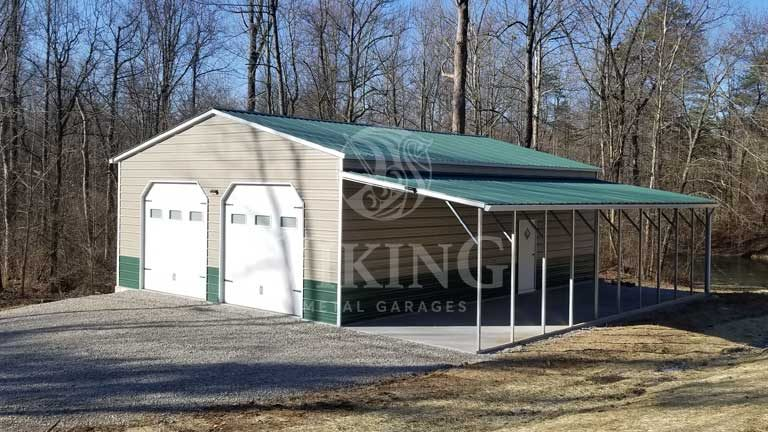 30x40 Fully Enclosed Metal Building with Lean To
