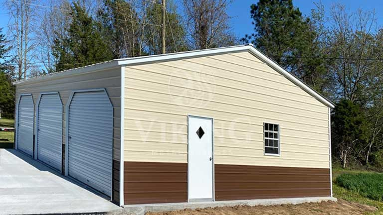 24'x35'x9′ Vertical Style Metal Garage