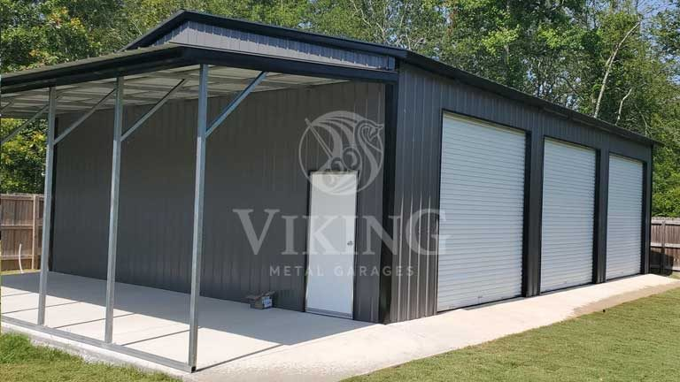 30'x40'x12′ Metal Shop with Lean-To