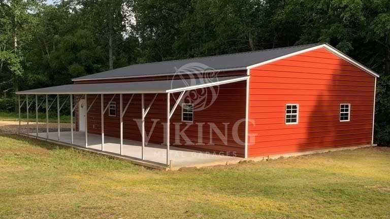 24'x50'x9' Vertical Metal Garage with Lean To