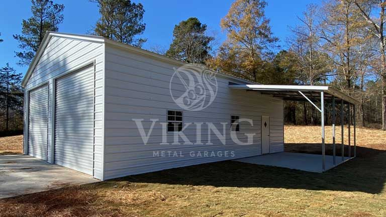 30'x41'x12′ Vertical Metal Garage With Lean To