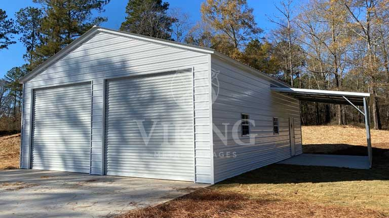 30x41x12 Vertical Metal Garage With Lean To Front View
