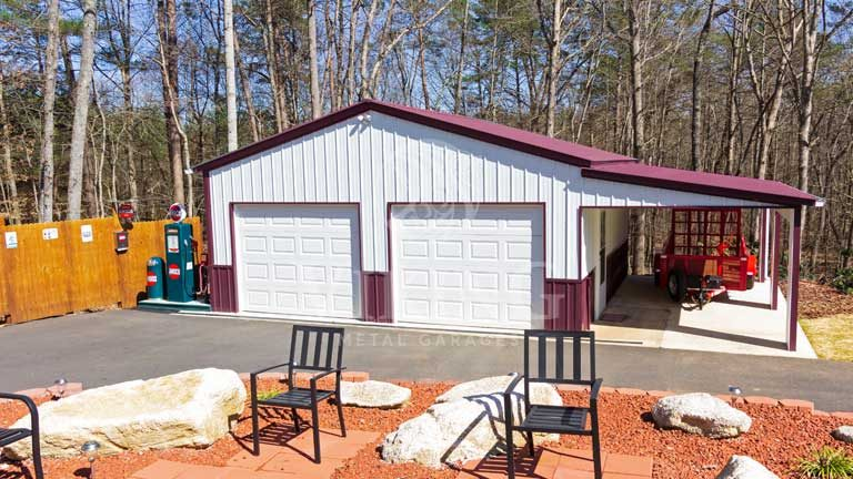 26x30x11 Metal Garage with Lean To