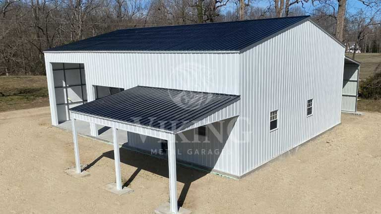 40'x40'x14′ Commercial Garage with Lean-to
